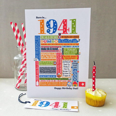 1941 (80th) Personalised Birthday Card with Matching Gift Tag