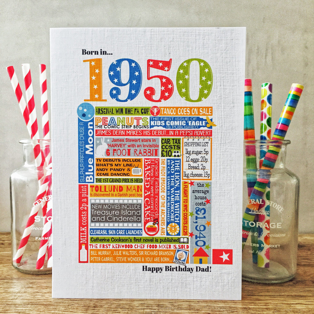 Born in 1950 (70th) Personalised Birthday Card and Gift Tag