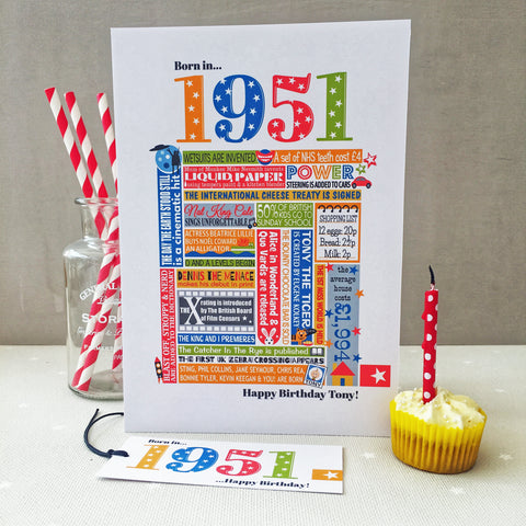 1951 (70th) Personalised Birthday Card with Matching Gift Tag