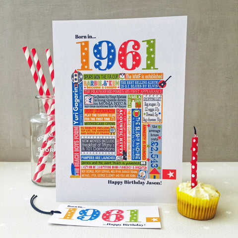 1961 (60th) Personalised Birthday Card with Matching Gift Tag
