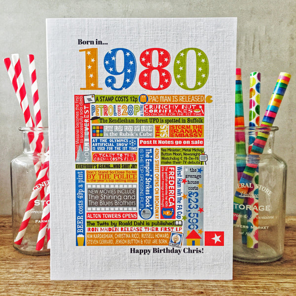 Born in 1980 (40th) Personalised Birthday Card and Gift Tag.