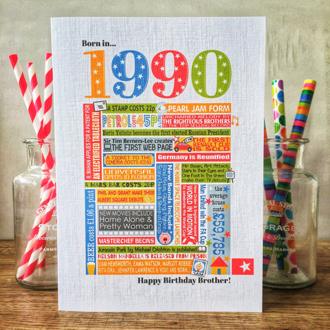 Born in 1990 (30th) Personalised Birthday Card and Gift Tag.