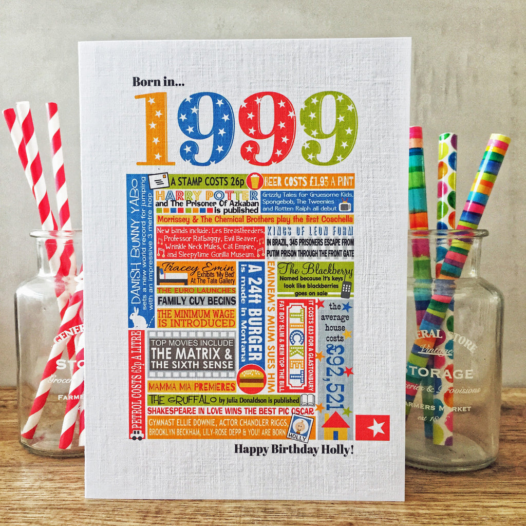 Born in 1999 (21st) Personalised Birthday Card and Gift Tag.