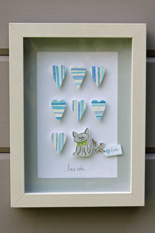 Cat....3D Framed Watercolour Picture