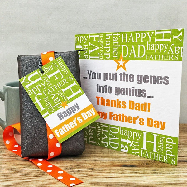 Father's Day 'Genes into Genius' Card and Gift Tag