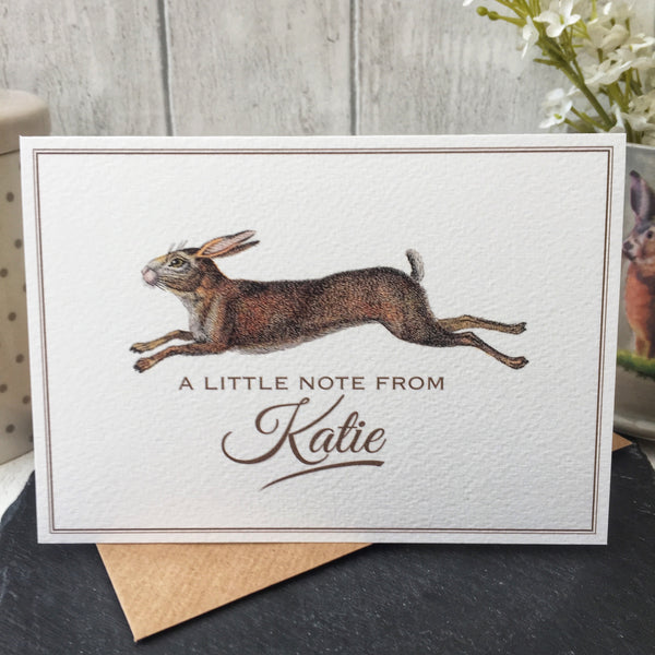Set of 6 Personalised Hare Notecards
