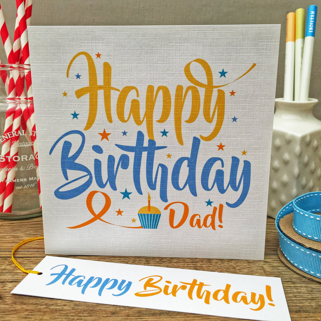 Happy Birthday! Personalised Card & Gift Tag. Blue