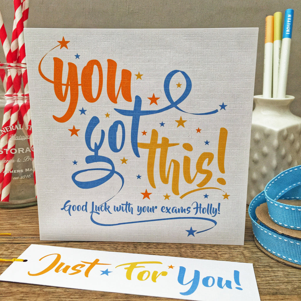 You Got This! Personalised Card & Gift Tag. Blue