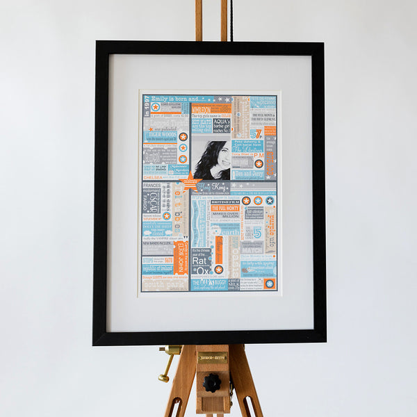 'The Year You Were Born' Personalised Birthdate Print in Sky and Tangerine
