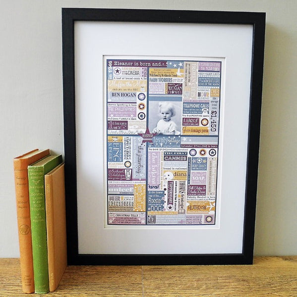'The Year You Were Born' Personalised Birthdate Print in Aubergine & Mustard.