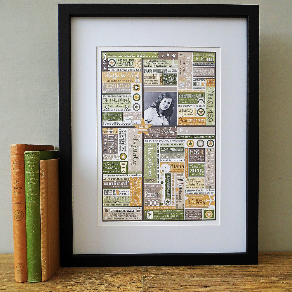 'The Year You Were Born' Personalised Birthdate Print in Sage Green & Stone.