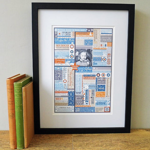 'The Year You Were Born' Personalised Birthdate Print in Smoke Blue & Orange.