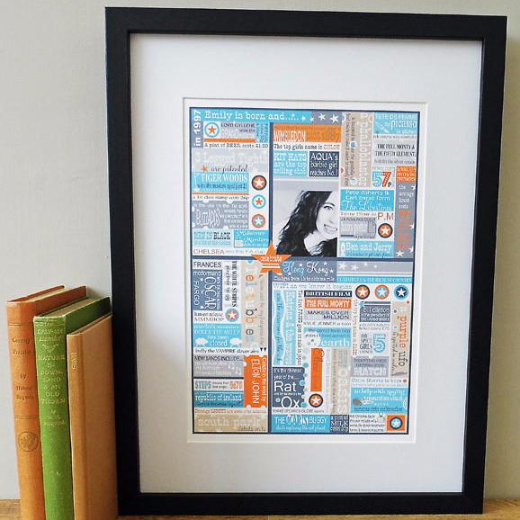 'In The Year You Were Born' Personalised Birthdate Print in Sky and Tangerine