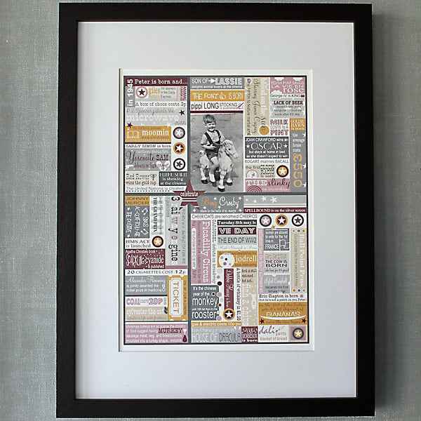 'In The Year You Were Born' Personalised Birthdate Print in Aubergine and Mustard