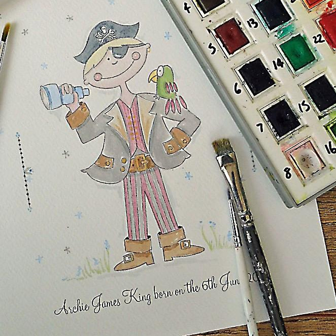 Swashbuckling Pirate Personalised Watercolour