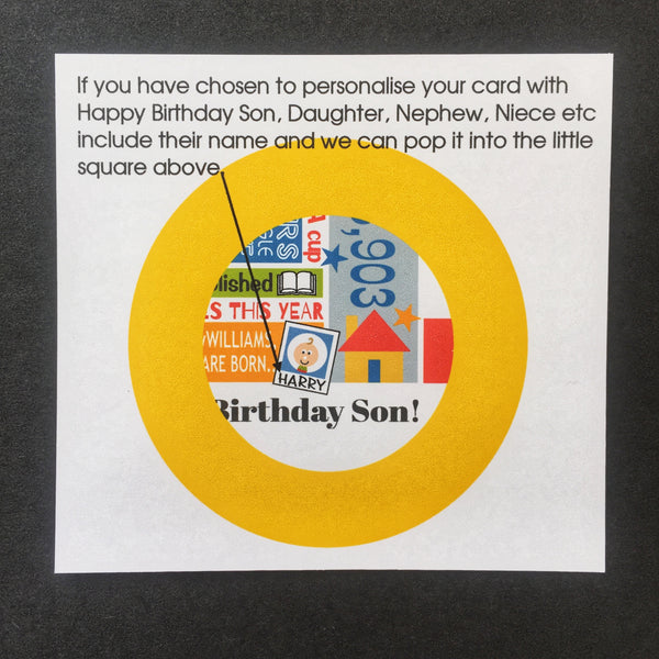 2000 (21st) Personalised Birthday Card with Matching Gift Tag