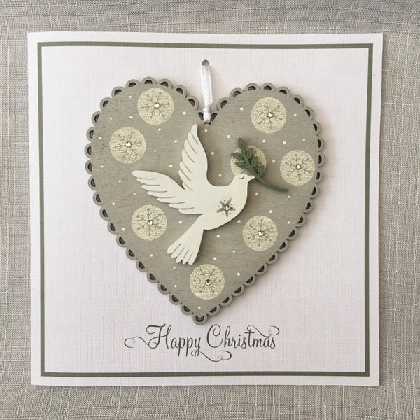 Painted Heart Decoration Christmas Card. Snowflake circle design.