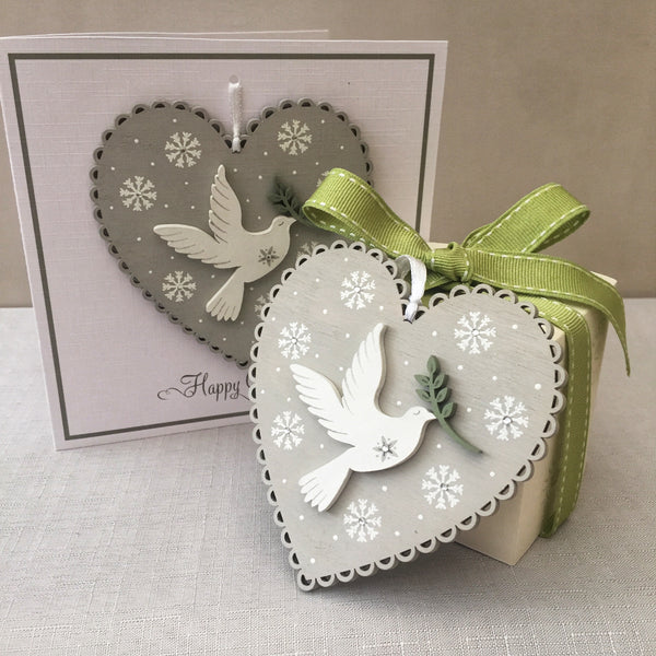 Painted Heart Decoration Christmas Card. Snowflake design.