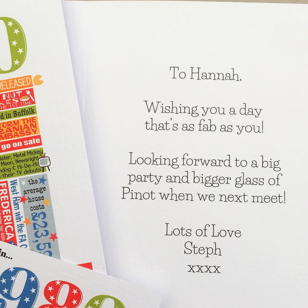 1991 (30th) Personalised Birthday Card with Matching Gift Tag