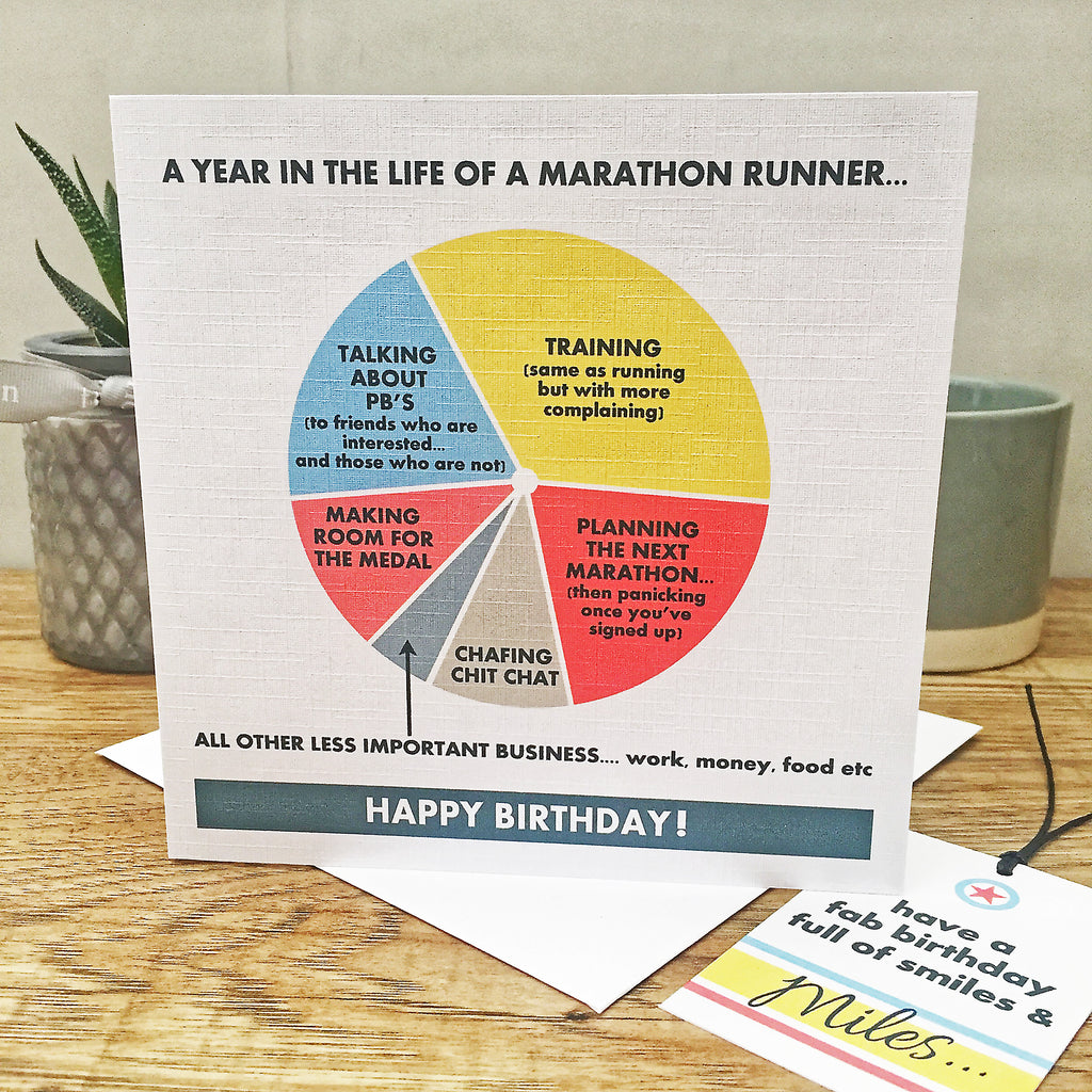 The Marathon Runner Birthday Card & Gift Tag
