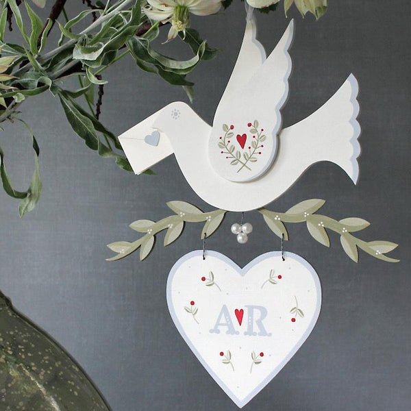 Hand Painted Personalised Dove with Mini Letter