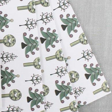 Folk Tree Christmas Gift Wrap. 10 Sheets.