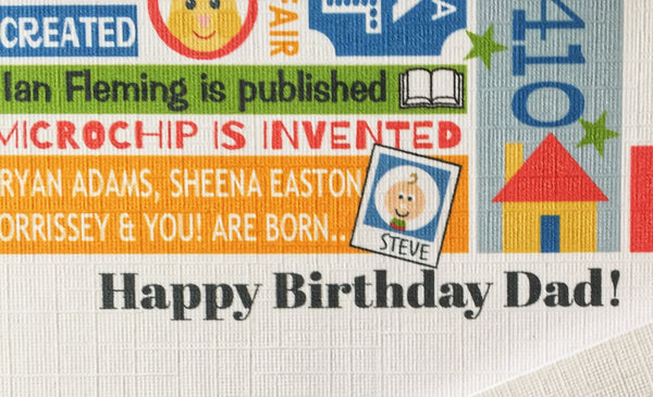 Born in 1970 (50th) Personalised Birthday Card and Gift Tag.