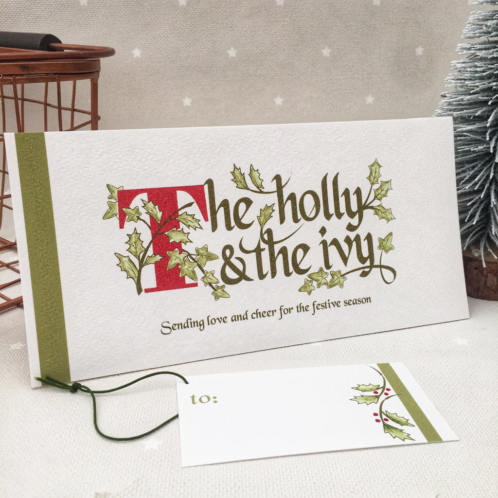 The Holly and the Ivy Christmas Card with matching tag
