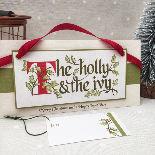 The Holly and the Ivy Christmas Banner Card with Matching Gift Tag