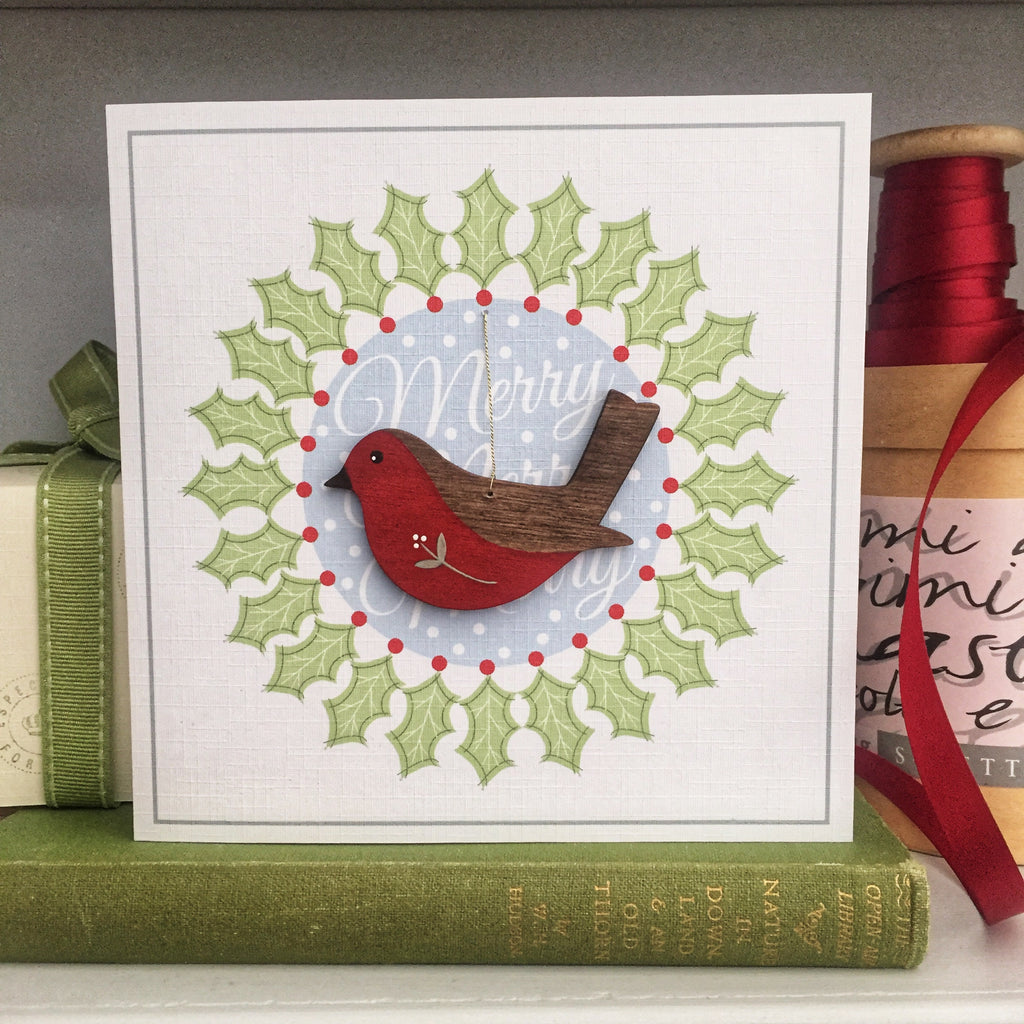 Robin Christmas Decoration Card