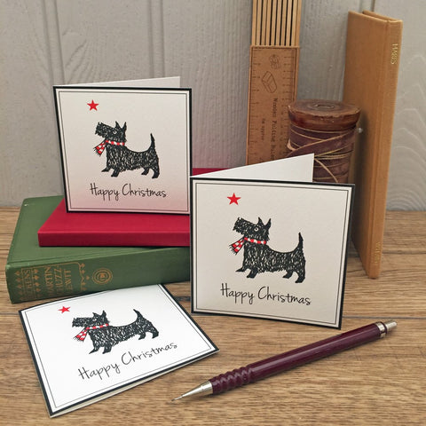 Scotty Dog Christmas Cards. Set of 12.