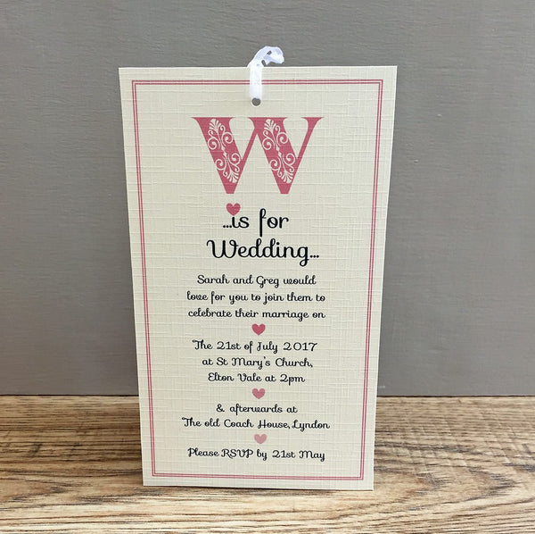 24 Personalised Wedding Invitations & Envelopes
