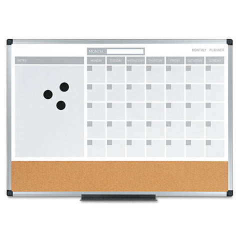 3 In 1 Calendar Planner Dry Erase Board 36 X 24 Silver Frame Sold
