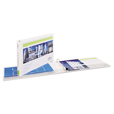 "11"" x 17"" Heavy-Duty View Binders, Locking 1-Touch EZD Rings, 3"" Cap, White, Sold as 1 Each"