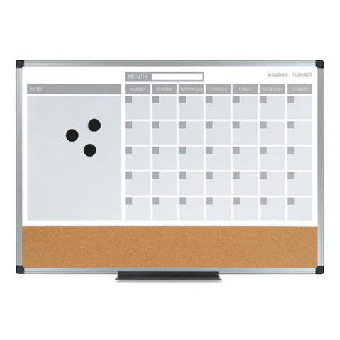 3-in-1 Calendar Planner Dry Erase Board, 36 x 24, Silver Frame, Sold as 1 Each