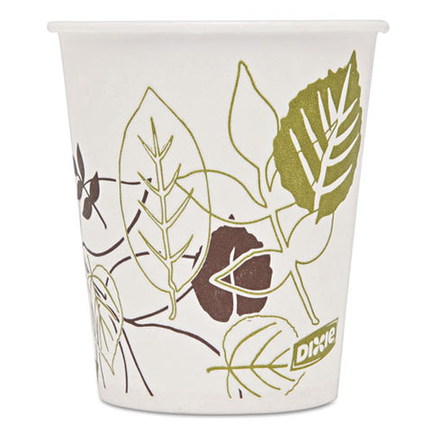 Pathways Wax Treated Paper Cold Cups, 5 oz, White/Green/Brown, 50/Pack, Sold as 1 Package