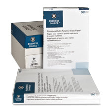 Business Source Multipurpose Copy Paper, Sold as 1 Carton, 5 Ream per Carton