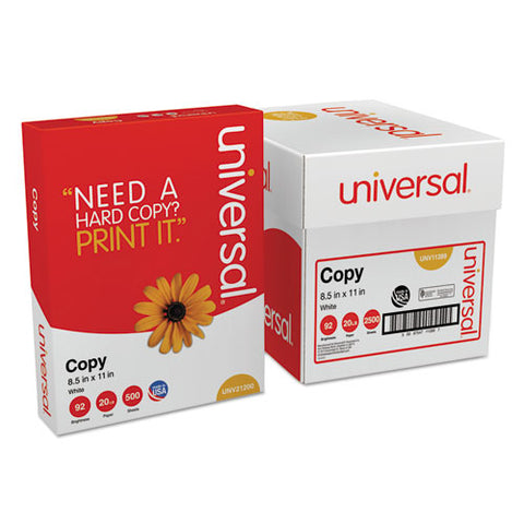 Universal - Copy Paper Convenience Carton, 92 Brightness, 20lb, 8-1/2 x 11, White, 2500/Ctn, Sold as 1 CT