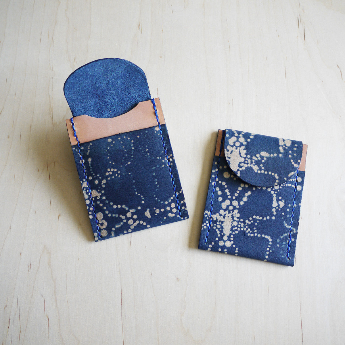 Katazome Indigo Leather, perfect gift for Denim Heads.