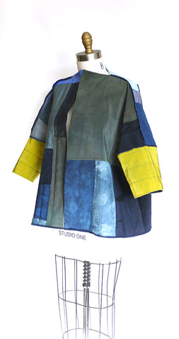 BORO, reversible quilted silk jacket