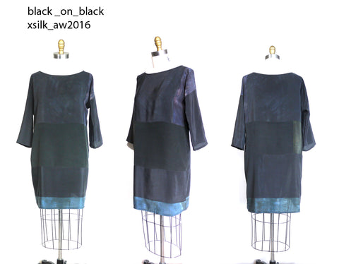 Black on Black.  patchwork silk dress