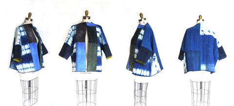 BORO reversible quilted silk jacket