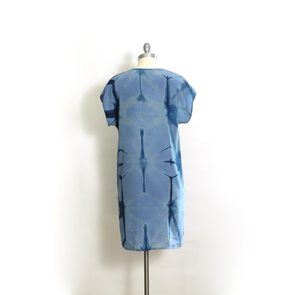 BLUE on BLUE indigo silk dress.