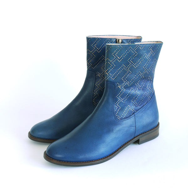 Woman's Ankle Boots.  Indigo dyed leather boots.  SASHIKO
