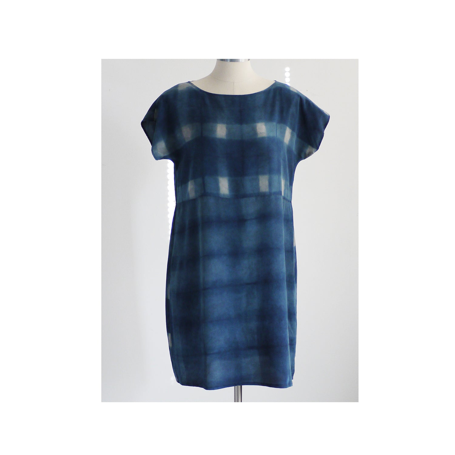 PLAID on PLAID.  Hand dyed Indigo dress. Made to order. Natural dye on Silk
