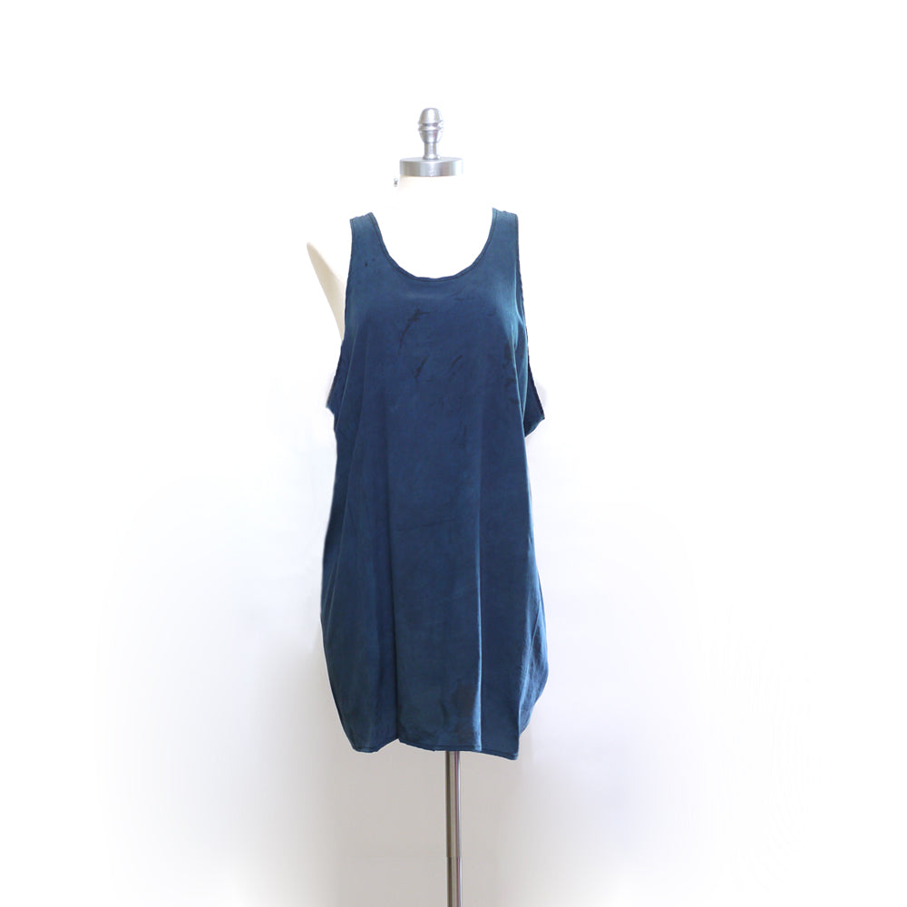 Indigo dyed silk Racerback Mini Dress