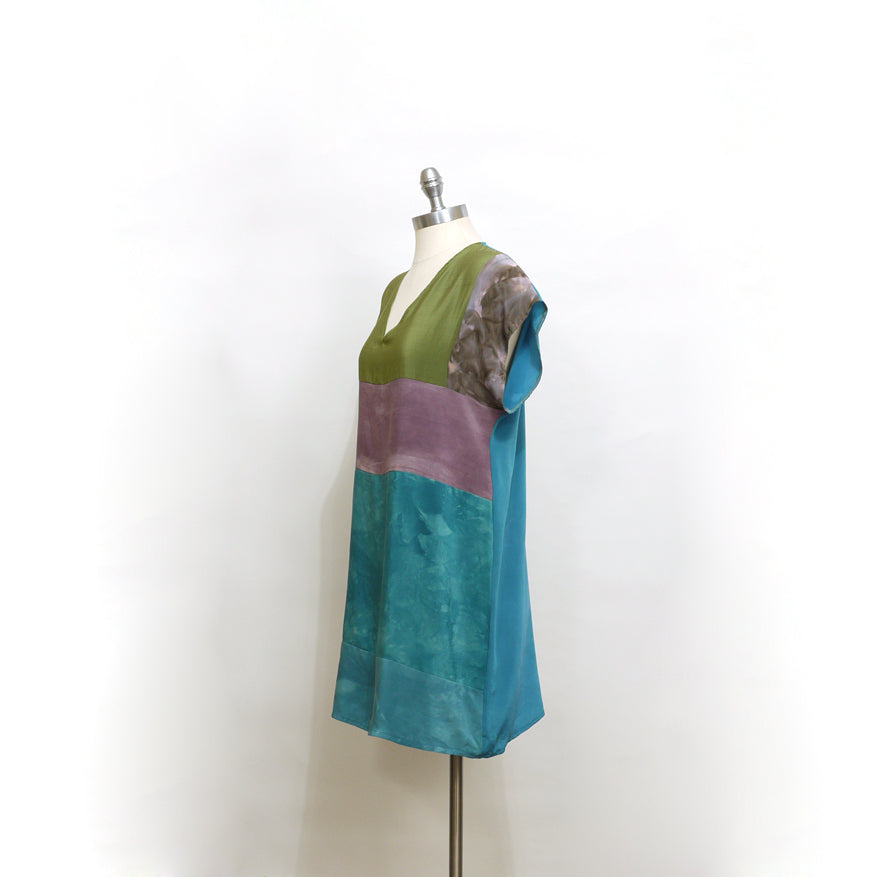 Minimal BORO Silk Mini Dress. Jewel tone Patchwork hand dyed silk dress. Medium.