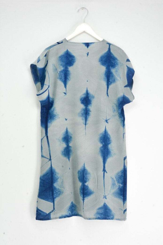 Itajime V-neck Silk Dress