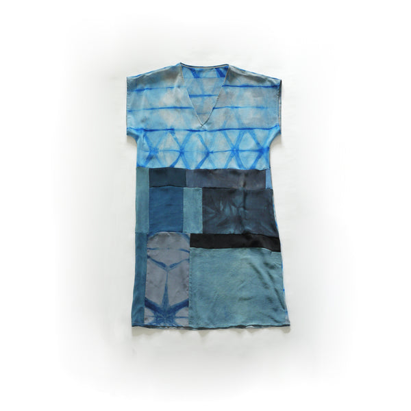 SHIBORI BORO Silk Dress. Indigo tones Patchwork hand dyed silk dress. Small/Medium.