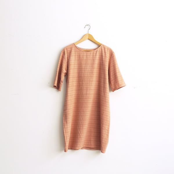 Raw silk knit dress. Plant dye dress with half sleeves. Size M.